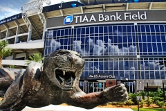 Jacksonville Jaguars Statue and TIAA Bank Field