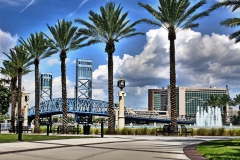 Palm trees and Main Street Bridge, Jacksonville Florida, Frienship Park
