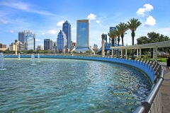 Fountain at Frienship Park overlookng Downtown Jacksonville