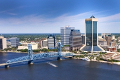 Aerial view of Downtown Jacksonville, Main street Bridge