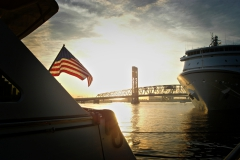 Yachts docked for event at Northbank Downtown Jacksonville