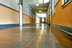 Hardwood floor hallways
