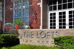 Entrance sign for The Lofts San Marco
