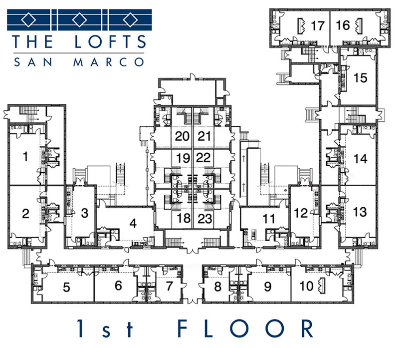 1st floor floorplan at The Lofts San Marco