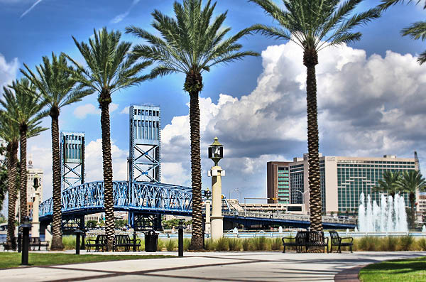palm trees and Main Street Bridge from Friendship Park